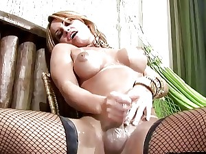 She-male enjoys monumental irritant ID card with an increment of shecock jizm milking