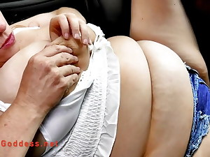 Huge tits Daisy Nukes driving in her van